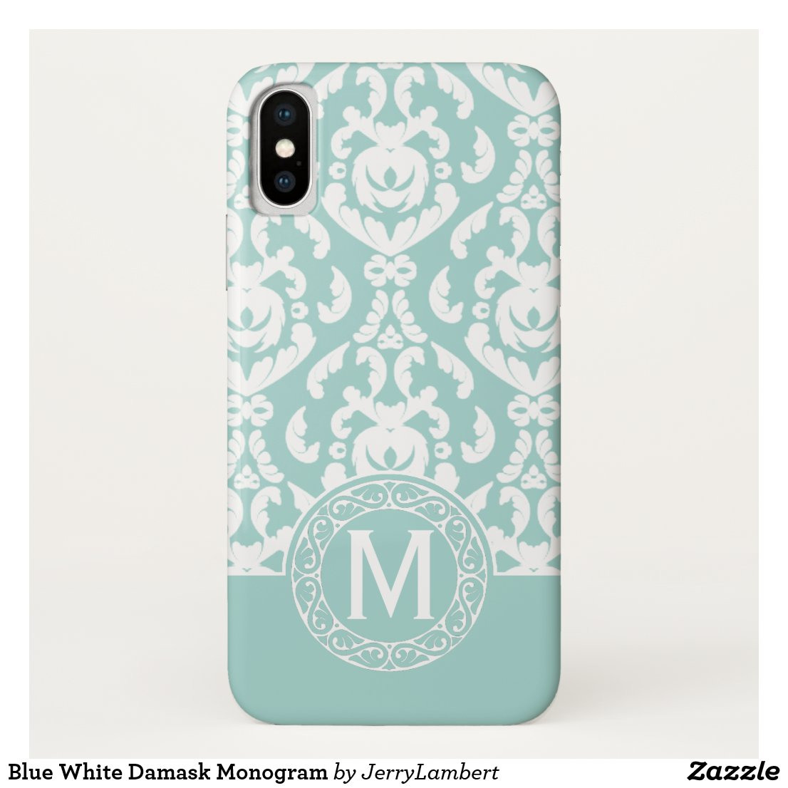 Blue White Damask Monogram iPhone X Case
