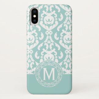 Blue White Damask Monogram iPhone X Case