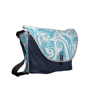 Blue White Damask Monogram Courier Bag
