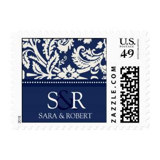 Blue White Damask Monogram Wedding Stamps
