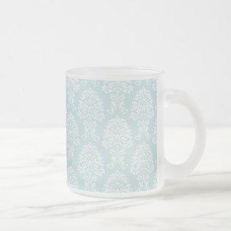 Blue White Damask Pattern Design Art 10 Oz Frosted Glass Coffee Mug