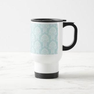 Blue White Damask Pattern Design Art 15 Oz Stainless Steel Travel Mug