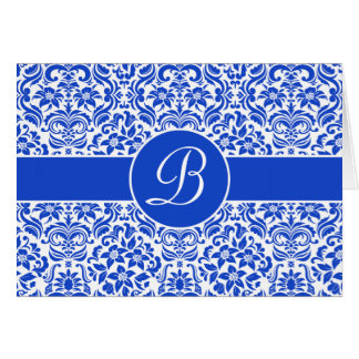 Blue & White Damask Personalized Card w/ Monogram Greeting Card