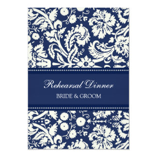 Blue White Damask Rehearsal Dinner Party Card