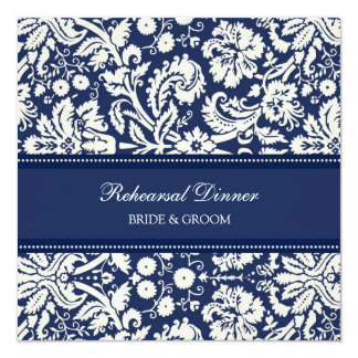 """Blue White Damask Rehearsal Dinner Party 5.25"""" Square Invitation Card"""
