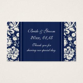 Blue White Damask Wedding Favor Tags