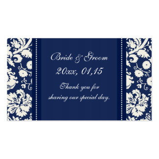 Blue White Damask Wedding Favor Tags Business Card Templates