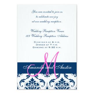 Blue White Damask Wedding Reception Invitation