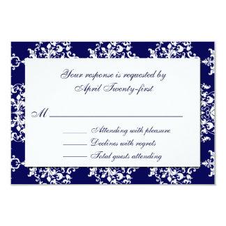 Blue & White Damask Wedding RSVP Card Invites