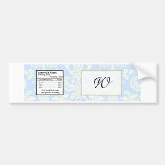 Blue/White Damask Wedding Water Bottle Label