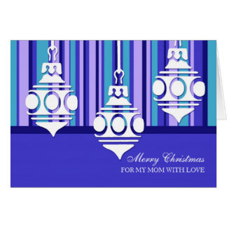 Blue White Decorations Mother Merry Christmas Card