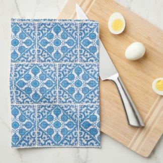 Blue White Delft Cornflower Faux Tile Pattern Hand Towels