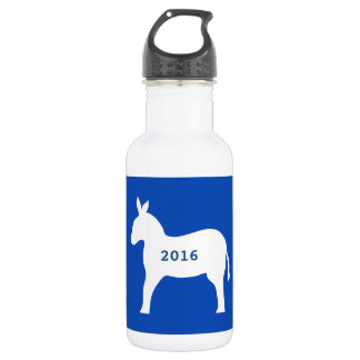 Blue White Democrat Donkey Symbol 2016 Elections Stainless Steel Water Bottle