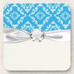 blue white diamond damask pattern coaster