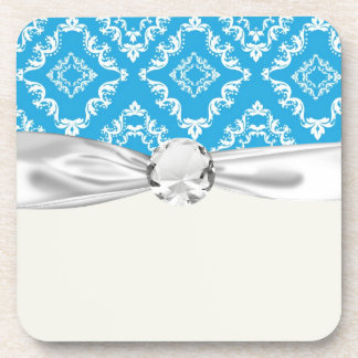 blue white diamond damask pattern drink coaster