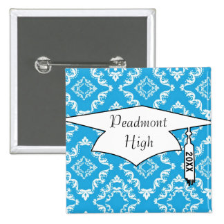 blue white diamond damask pattern graduation pinback button