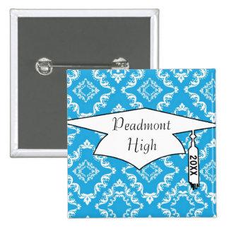 blue white diamond damask pattern graduation pinback button