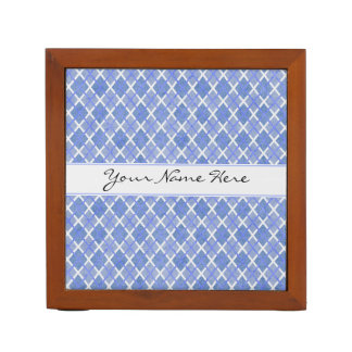 Blue & White Diamond Overlap Pattern with Name Pencil Holder