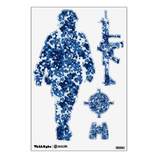 Blue & White Digital  Camouflage Wall Decor