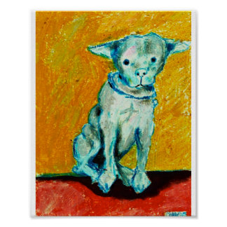 Blue white dog yellow background poster