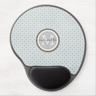 Blue White Dots Monogram Gel Mouse Pad