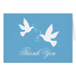 Blue & white dove birds wedding thank you card
