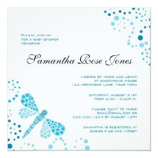 Blue & White Dragonfly Elegant Baby Shower 5.25x5.25 Square Paper Invitation Card