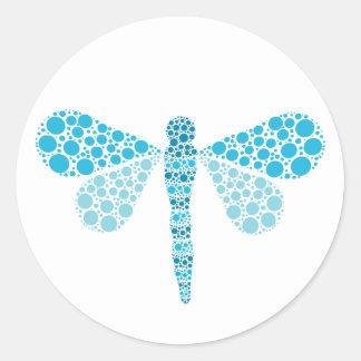 Blue & White Dragonfly Elegant Baby Shower Seal Classic Round Sticker