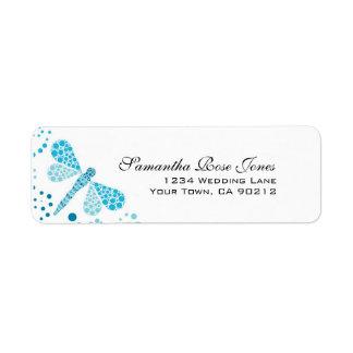 Blue & White Dragonfly Pointillism Custom Address Label
