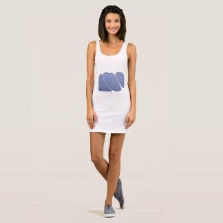 Blue-White Dreamy Marbled Sleeveless Dress
