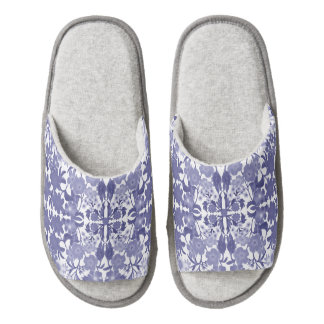 Blue White Dutch Floral Slippers Pair Of Open Toe Slippers