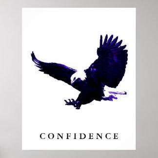 Blue White Eagle Motivational Confidence Poster