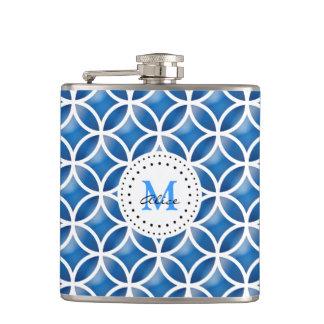 Blue White Elegant Abstract Circles Pattern Flask