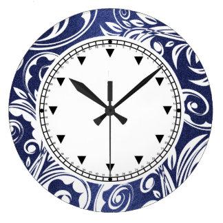 Blue white elegant florals large clock
