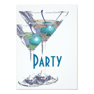 Blue white elegant formal party card