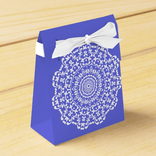 Blue White Elegant Lacy Perxonalized Favor Box