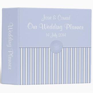 Blue & White Elegant Stripe Wedding Planner Binder