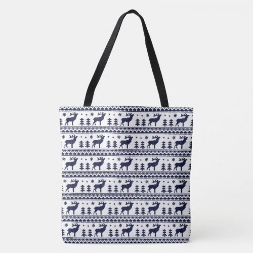 Blue White Fair Isle Christmas Sweater Pattern Tote Bag