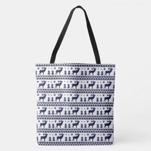 Blue White Fair Isle Christmas Sweater Pattern Tote Bag