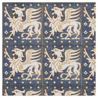 BLUE WHITE FANTASY GRIPHONS FABRIC