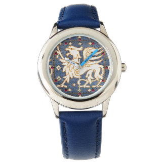 BLUE WHITE FANTASY GRIPHONS WRISTWATCH