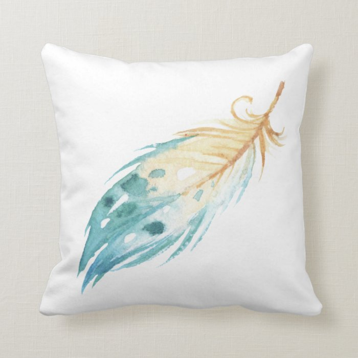 Blue White Throw Pillow : Blue & White Feather Design Throw Pillow Zazzle