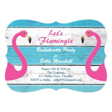 Beach Themed Blue & White Flamingo Bachelorette Party Invite