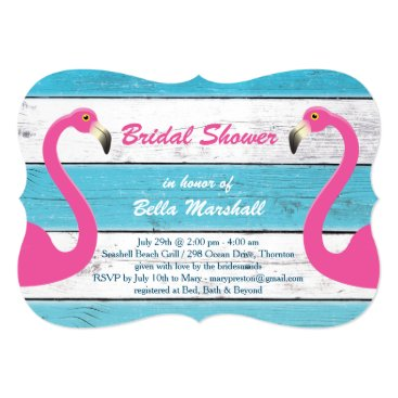 Beach Themed Blue & White Flamingo Bridal Shower Invitation
