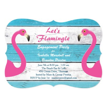 Beach Themed Blue & White Flamingo Engagement Party Invitation