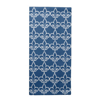 Blue White Fleur de Lis Chain Pattern Cloth Napkin