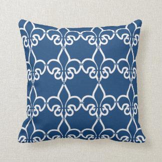 Blue White Fleur de Lis Chain Pattern Pillow