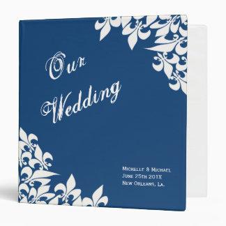 Blue White Fleur de Lis Pattern Wedding Planner 3 Ring Binder