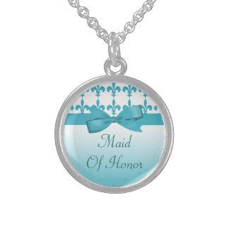 Blue & White Fleur De Lis Wedding Sterling Silver Necklace
