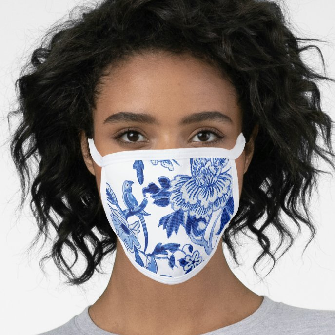 Blue White Floral Bird Chinoiserie Asian Influence Face Mask